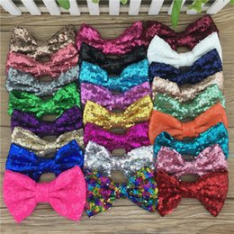 Wholesale Embroideried Sequin Bows - Wholesale- Wholesale 25pcs lot 5'' Large Messy Sequin Hairbow Clip,Embroideried Sequin Bows With Clip for Baby Hair Accessories