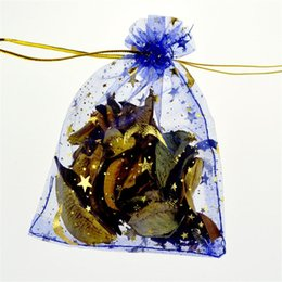 Sacos da lua da estrela azul on-line-Small Organza Bag 7x9cm Drawable Wedding Jewelry Bags Royal Blue Packaging Pouches Moon Star Organza Gift Bags 100pcs lot