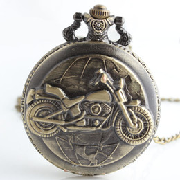 Wholesale Wholesale Motorcycle Pendants - Large size carving motorcycle Pocket Watches Bronze locket pendant necklaces Fob quartz Watches men women fashion jewelry gift 230165