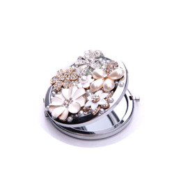 Wholesale Double Side Gift Mirror - Beauty pearl flowerpocket mirror double Dual sides stainless steel frame cosmetic makeup personalized women gift D101601