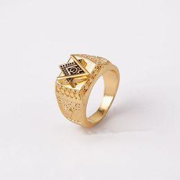 Wholesale Men Gold Square Ring - Fashion Unisex 18K Yellow Gold Plated Square Free Mason Freemasonry Masonic Finger Ring for Men or Women (Size:7-12)