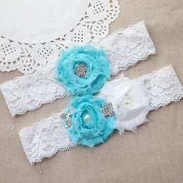 Wholesale Wedding Embroidered Ribbon - Cute Sexy Lace Wedding leg Garter Toss Garter Ivory Stretch Lace with Blue Bow White Flowers Wedding Garters Bridal 2pcs set