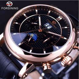 Wholesale Moon Watch Design - Forsining 2017 Luxury Rose Golden Series Moon Phase Calendar Design Clock Men Watch Top Brand Luxury Automatic Male Wrist Watch