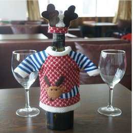 Wholesale Home Decor Suppliers Wholesale - Red Wine Bottle Cover Bags Christmas Dinner Table Decoration Home Party Decors Santa Claus Christmas Supplier EIK Gift