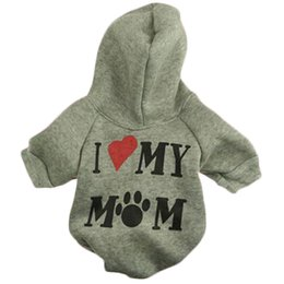 Wholesale Apparel Dog Hat - I Love My Mom Pet Dog Cat Sweater Puppy T Shirt Warm Hoodies Coat Clothes Apparel for Sale Fast Free Shipping