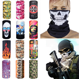 Wholesale Headband Bike Cycling - Multi bike motorcycle helmet face mask half skull mask CS Ski Headwear Neck cycling pirate headband hat cap halloween mask pirate kerchief