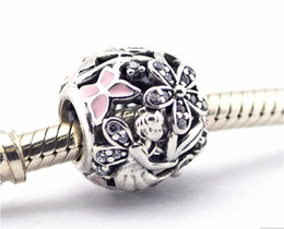 Wholesale Fairy Charm Bracelet - pandora Dazzling Daisy Fairy Enamel Charms 925 sterling silver loose beads for thread bracelet fashon jewelry authentic