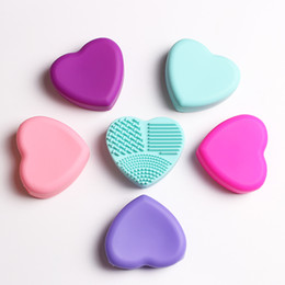 Wholesale Makeup Brush Set Red - Colorful Heart Shape Clean Makeup Brushes Wash Brush Silica Glove Scrubber Board Cosmetic Cleaning Tools for makeup brushes