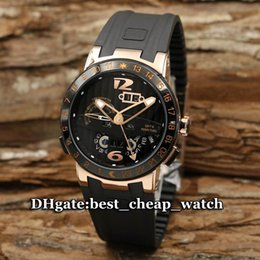 Wholesale Perpetual Rose Gold - Super Clone Ulysse Brand Watch Classic BLACK TORO El Toro Perpetual Calendar GMT ± Rose Gold 43 Mens Watch 326-03-3 Automatic Luxury Watches