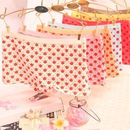 Wholesale Cartoon Women S Panties - Wholesale-Strawberry women underwear cartoon printed cotton panties cotton cute girl boxer briefs mixed colors 6 pcs lots