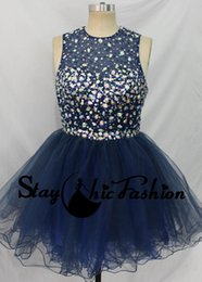 Wholesale High Neck Jeweled - Navy Beaded Open Back Prom Dress 2016 Short Jeweled Illusion Top Girls A Line Party Dresses