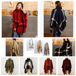 Wholesale Geometric Shawl Cardigan - Plaid Poncho Scarf Tassel Fashion Wraps Women Scarves Tartan Winter Cape Grid Shawl Cardigan Blankets Cloak Coat Sweater shawl wraps KKA3273