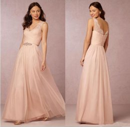 Wholesale Long Fancy Bridesmaid Dresses - Rullfe Chiffon Bohemian Bridesmaids Dresses Sparkly Beaded Sash Fancy Pleat Floor-Length Bridesmaid Dress Under 100$ Vestido De Festa