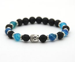 Wholesale Silver Energy Bracelet - Whosale 10pcs lot 8mm New Blue Agate Stone Beads Men's Buddha Energy Yoga Bracelets,best gift