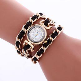 Wholesale Digital Rope Watch - Fashion 2017 women bracelet watch metal alloy ladies casual chain rope weave long straps dress quartz watches