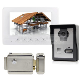 Wholesale Door Lock Wires - Electric Lock 7inch Video Intercom Video Door Phone Doorbell 1 Camera 1 Monitor for Home   Office Security System White