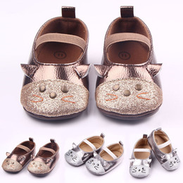 Wholesale Cat Walk Shoes - New Baby Girl Dress Shoes Shinning Leather Cat Design Elastic Band First Walking Shoes Anti-slip Soft TPR Sole 0-12 Months