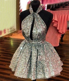 Wholesale Orange Halter Short Homecoming Dress - Sparkly Silver Sequined Homecoming Dresses 2016-2017 Halter Sexy Backless Short Prom Dresses Hollow Front Formal Party Dresses Cheap