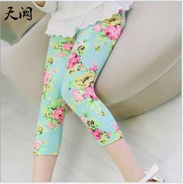 Wholesale Plaid Flannel Pants - 2016 Summer Girls Floral Printed Legging Pants Children Flower Tights Kids Cotton Casual Pants Child Trousers 100-140cm 15pcs lot