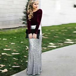 Wholesale Ladies Formal Wear Fashion - 2017 New Gorgeous Burgundy Dresses Evening Wear Long Sleeves Top velet Silver Sequins Floor LengthProm Party Gowns Formal Ladies Guests Wear