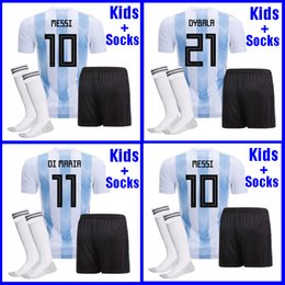 Wholesale Messi Jersey Kids - Argentina KIDS Soccer Jersey 2018 Argentina boys youth kits DYBALA Messi kun Aguero Di Maria Child football soccer shirt uniform with socks