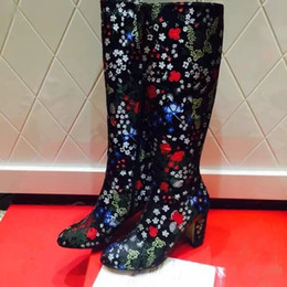 Wholesale Sexy Black Booties Shoes - Mixed Color Women Knee High Boots Colorful Flowers Motorcycle Long Boots Sexy Thick High Heels Dress Shoes Woman Leather Booties