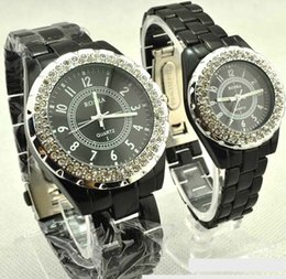 Wholesale Watches For Men Imitation - ROSRA Stainless Steel Men watch New Fashion Crystals Round Dial Wrist Watch Imitation Ceramic Diamond Wristwatches For Lovers Watch