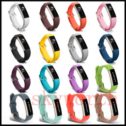Wholesale Dhl Free Watch - New Replacement Wrist Band Wristband Silicon Strap Clasp For Fitbit Alta HR Smart watch Bracelet 17 color DHL free