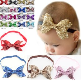 Wholesale Wholesale Bling Headbands - 16colors glitter bow headband, sparkle gold headband,Baby Headband sequin Bow Shiny Metallic Hair Bling YS009