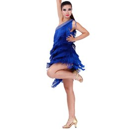 Wholesale Tango Dance Wear - hot sale good quality sexy tassel Latin dance dress orange blue red elegant tango rumba samba dance wear competition dress
