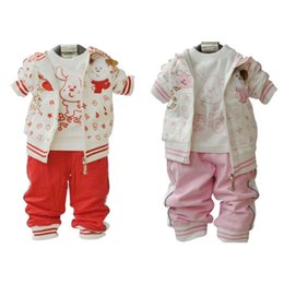 Wholesale Three Piece Boys Hooded Outfit - Spring Autumn Baby Boy Girl Boutique Set Clothing Christmas Outfits For Kid Hooded Jacket+Cartoon Letter T Shirt+Pant 3PCS Suit Tracksuit