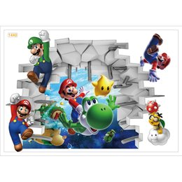 Wholesale Live Mario - Wall Stickers pvc 3d cartoon Super Mario Bros Boy Room Kids Art Decal Mural Kids Nursery Decals bedroom Home Decor