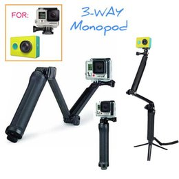 Wholesale Pole Extension - Sports Action Cam xiaomi yi extension pole arm 3-Way Grip Monopod Tripods For xiaoyi & Action Cam SJ4000 Camera Accessories