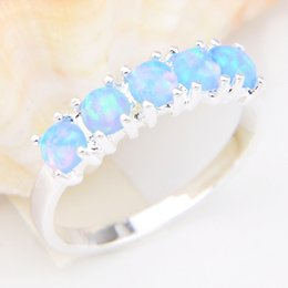 Wholesale Sterling Silver Fire Opal Jewelry - 5 Pcs 1 lot Bulk Real Round Crystal Blue Fire Opal Gemstone 925 Sterling Silver Ring Russia American Australia Weddings Ring Jewelry Gift