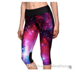 Wholesale Lycra Short Leggings - 2016 New Summer Womens Tights Leggings Fashion 3D Cotton Yoga Colorful Leggings Shorts For Ladies Sports Fitness Plus Size Leggings