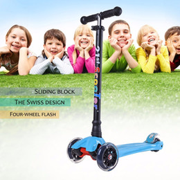 Wholesale Led Scooter Wheels - Wholesale-Lightweight Adjustable Height 4 Wheels LED Flashing Light Children Kick Scooter Kids Outdoor Playing Bodybuilding Scooter Toy
