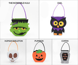 Wholesale Wholesale Christmas Gifts Baskets - Halloween Pumpkin Owl Skull Zombie Bag Non Woven Handbag Treat or Trick Candy Basket for Halloween Party Decoration