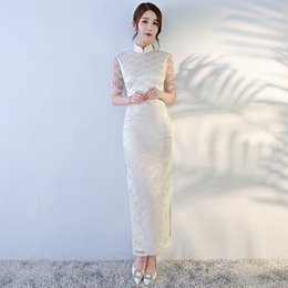 Wholesale Embroidered Cheongsam Dress - White Taffeta Long Mermaid High Neck Evening Dress Long Prom Dress Split Side Cheongsam Largo vestido formal