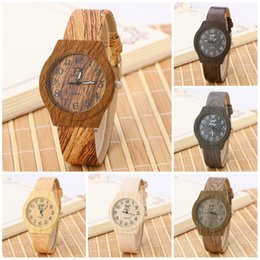 Wholesale Women Wooden Watch - Watches for women 2016 Simulation Watches Casual Wooden Color Leather Strap Watch Wood Male Wristwatch Men Wooden Quartz Watches
