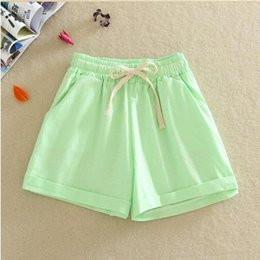 Wholesale Linen Pants Big Legged - Summer new linen cotton shorts for women female big size shorts joker wide-legged pants loose hot style elastic waist hot shorts with bow