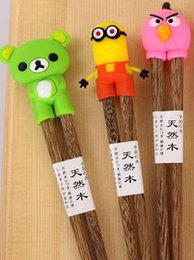 Wholesale Connected Chopsticks - New Cartoon Connected Wooden Chopsticks children and foreigners learning chopsticks educational chopsticks In stock Free shipping