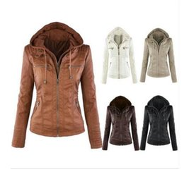 Wholesale Leather Hat Xl - 2016 New Winter Abrigos Mujer Fashion Long-sleeved Jacket Lapel Solid Color Zipper Hat Detachable Women Leather Jacket LH215