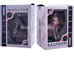 Wholesale Sword Paper - box paper New Good PVC Sword Art Online Asuna Action Figure SAO Yuuki Kirito Anime Model Toy Birthday Gift Collectibles Free Shipping