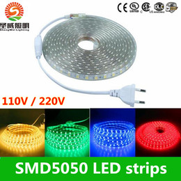 Wholesale 15m Led Light - 110V 220-240V High Voltage 100m Led Strips 5050 Waterproof 10m 15m 20m 25m 30m 35m 40m 45m 50m Led Light Strips + Power Suply