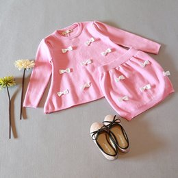 Wholesale Knit Skirt Suit - 2016 Children New Spring and Autumn Girls Pretty 2pcs Sets Fashion Princess Bow Knitted Pullover+Skirt Suit Baby Girls Outfits