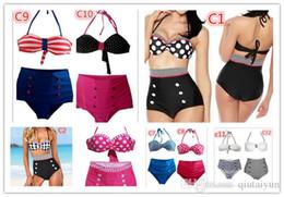 Wholesale Pink Pin Stripes - 20COLORS Retro Push-up Padded High Waist Bikini Swimsuit Vintage Bathing Suit Pin-up Straps Swimwear navy stripe Beachwear 200PCS B33
