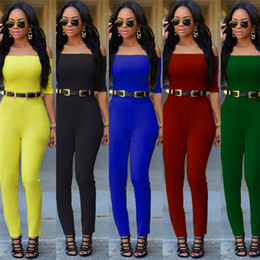 Wholesale Yellow Coverall - Leisure Siamese Suits Work Jumpsuits Containing Belt 5 Colors Select Rompers European And American Fashion Style Coverall QH2509