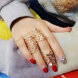 Wholesale Double Finger Chain Rings - New Fashion Above the Knuckle Ring Top of Finger Gold Silver Double Rings Chain Link Unisex  rings for women gold ring DHR002