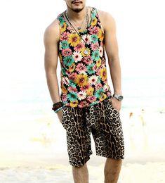 Wholesale Punk Swimwear - Swag Leopard Shorts Men Summer Board Surfing Swimwear Shorts Hip Hop Casual Shorts Punk Clothing Coffee Color 4 Sizes