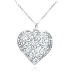Wholesale Frost Heart Necklace - Frosted Silver Plated Flower Pattern Pendant Simple Hollow Heart-shaped Pendant 925 Sterling Silver Jewelry For Women Men